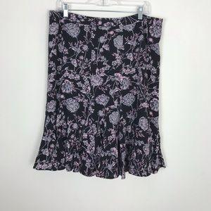 Talbots Black Floral Skirt Sz 16 Petite EUC